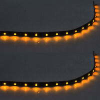 2 X 15 LED 30cm SMD Car Vehicle Flexible Waterproof Strip Light Yellow 12V Sales