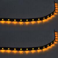 2 X 15 LED 30cm SMD Car Vehicle Flexible Waterproof Strip Light Yellow 12V Sales