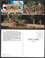 Old Fishing Postcard - Buck Lake Ranch - Angola, Indiana - Rainbow Trout