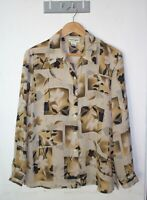 Suzannegrae Vintage Top Size 10 Beige Floral Long-sleeve Button Down Blouse