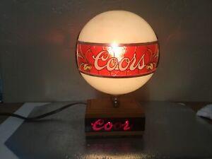 (VTG) 1970s Coors Beer back Bar  Lamp light up Globe sign Flashes Coors