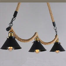 Industrial Retro Wave Hemp Rope Chandelier Fixture Lamp Metal Pendant Light P521