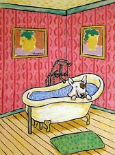 Bull Terrier bath pet salon dog prints 8.5x11 glossy animals art Print
