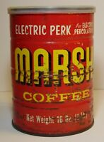 Old Vintage 1960s MARSH SUPERMARKET COFFEE GRAPHIC 1 POUND TIN YORKTOWN INDIANA