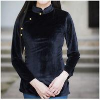 Chinese Style Women's Top T-shirt Velvet Long Sleeve Blouse Cheongsam QiPao