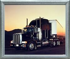 Peterbilt Semi with Trailer Big Rig Truck Wall Decor Silver Framed Art Picture