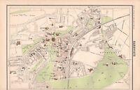 1898 ANTIQUE TOWN PLAN- HARROGATE YORKSHIRE