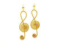 Ohrringe Ohhänger Vergoldetem mit Strasssteine und Note Musik aus Goldcapim