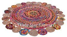 Indian Braided Fringe Rug Boho Jute Cotton Floor Rug Reversible Round Floor Mat