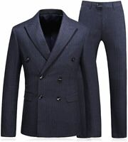 MOGU Mens Double Breasted Pinstripe 3 Piece Suit Slim Fit Blazer, Gray, Size 30