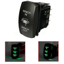 7Pin Green LED Light Rocker Switch Winch In Winch Out On-Off-On  //