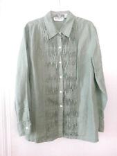 Bloomingdales Green 100% Linen Tunic Blouse Shirt Top Button Down Women's Sz L
