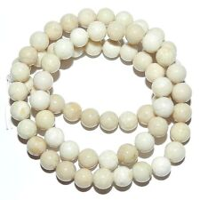 GR517f Natural Creamy White 6mm Round Riverstone Coral Fossil Gemstone Beads 16""