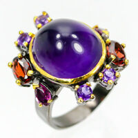 Discount Sale Jewelry Natural Amethyst 925 Sterling Silver Ring Size 6.75/R83693