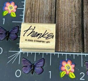 Stampin' Up! Thanks Rubber Stamp 2005 Slanted Print Wood Mount #G44