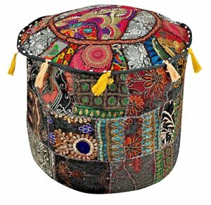 Indian Ottoman Pouf Round Floor Footstool Cover Patchwork Cotton Pouf Cover