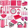 Hot Pink Kitchen Storage Canisters Accessories Utensils Cutlery Bin Kettle Clock