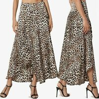 TheMogan Leopard Cheetah Animal Print Satin Wrap Ruffled Long Mid Maxi Skirt