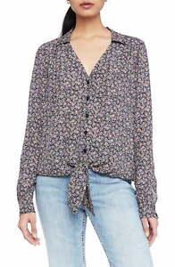 PARKER Women Blouse Blue Size Medium M Viceroy Floral Silk Button-Front $238 066