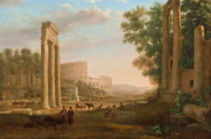 Claude Lorrain Capriccio with ruins of the Roman Forum Giclee Canvas Print
