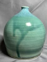 Weed Pot Vase Hand Studio Art Pottery Clay  Blue Green Accent Signed