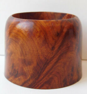 Small candle holder made of burled thuya wood Wooden tealight holder 4 cm tall J