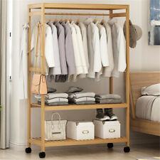 Mobiler Kleiderständer Wäscheständer Garderobenständer stabil mit 2 Ablagen Holz