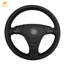 Black Genuine Leather Steering Wheel Cover Wrap for BMW E36 E46 E39 #BM81
