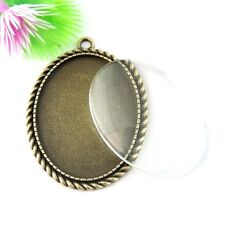 1SET  Antiqued Bronze Alloy Oval Bezel with Glass Cameo Pendant Charms 50*36*2mm