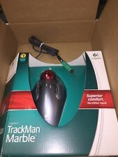 LOGITECH TRACKMAN MARBLE Trackball Mouse w/USB con and 6 pin PS/2 adapter   NEW