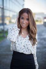 Zara Ecru PRINTED  Blouse Shirt Top SIZE 8-10