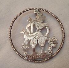 White Metal Engraved Oriental Brooch