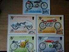 ISLE OF MAN TT 80th ANNIV -1987 SET OF 5 STAMP CARDS FDI FRONT TT HANDSTAMP