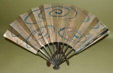 JAPANESE ART Folding Fan Stick Guards Swallow wave VINTAGE Japan Asian a515