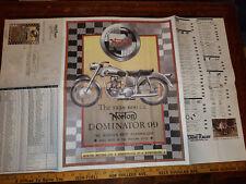 VINTAGE 1958 NORTON DOMINATOR BRITISH MOTORCYCLE DOMI RACER PRICE POSTER 34 X 22