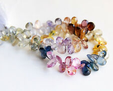 """AA Natural Multi Color Sapphire Faceted Pear Briolette Gemstone Beads 8"""""""