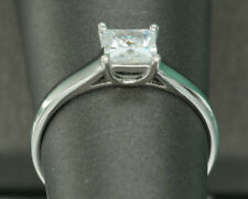1CT Princess CUT DIAMOND SOLITAIRE ENGAGEMENT RING 18K WHITE GOLD ENHANCED 7.5