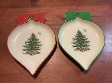 "2-Spode Christmas Ornament Dishes 7"" Microwave Dishwasher Freezer Safe NWT"