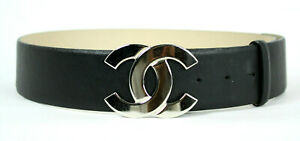 CHANEL 08A Black Leather Silver CC Logo Buckle Adjustable Belt 32 80