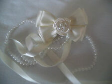 Beautiful Ivory/Cream, Communion,Wedding,bridal,Rose,Pearl Ribbon bow hair clip