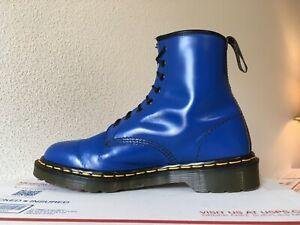 90's Vintage Dr. Martens 9 boots ENGLAND royal Blue 1460 electric bright shoes