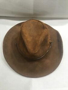 Minnetonka Mens The Aussie Hat Genuine Leather Size M Brown Western Outback