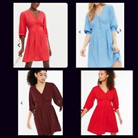 New Look Dress Size 8 10 & 12 Burgundy Blue Red Tie Sleeve Button V Neck HM79