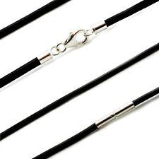 Herren/Damen Leder NECKLACE-3mm Schwarz LEATHER-925 Sterlingsilber Clasp