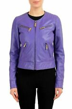 Just Cavalli 100% Leather Purple Full Zip Women's Basic Jacket US S IT 40