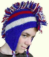 Beanie Mohawk Winter Hat Hand Knit 100% Wool Polyfleece Lined