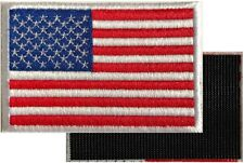 AMERICAN FLAG MOTORCYCLE VEST BIKER PATCH WHITE EDGES  Embroidered VELCRO® AFV-1