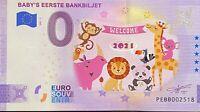 BILLET 0  EURO BABY'S EERSTE BANBILJET  COULEUR PAYS BAS 2021 NUMERO DIVERS