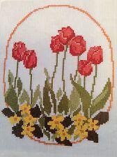 Tulips counted cross stitch magazine pattern, fabric & floss lot