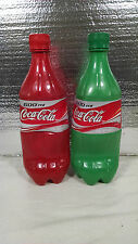 LOT OF 2 MEXICAN COCA COLA COCACOLA PLASTIC BOTTLES RED GREEN MEXICO COKE